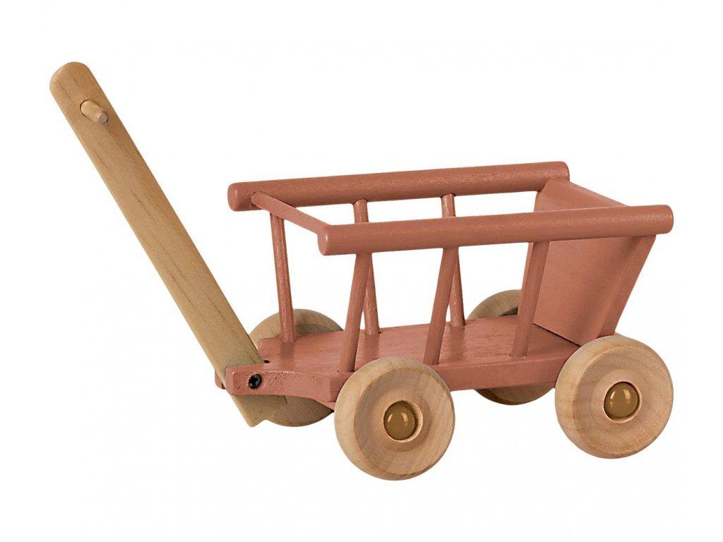 MAILEG Dřevěný vozík - růžový