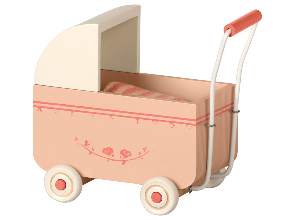 MAILEG Dřevěný kočárek růžový