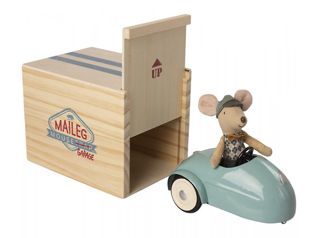 MAILEG Myšák s modrým autem - malý bráška