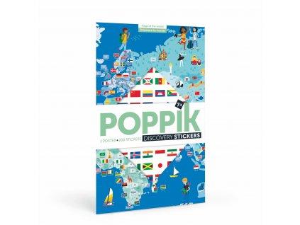 POPPIK stickers flags drapeaux planisphere occuper les enfants montessori friendly