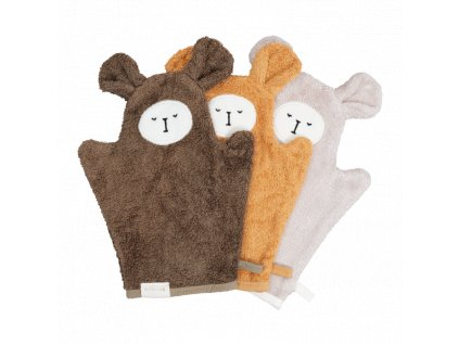 Bath Mitts Bear Olive Mix 3 pack (primary)