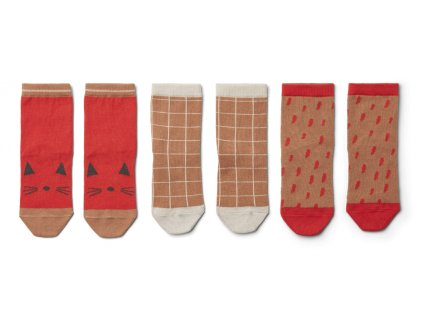 LW13070 Silas cotton socks 3 pack 2409 Apple red multi mix Extra 0