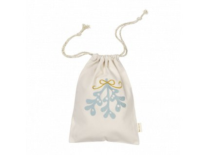 Gift Bag Mistletoe embroidery Natural (primary)