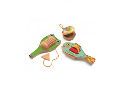 Sada hudebních nástrojů - Kastaněty, činely rybička a guiro
