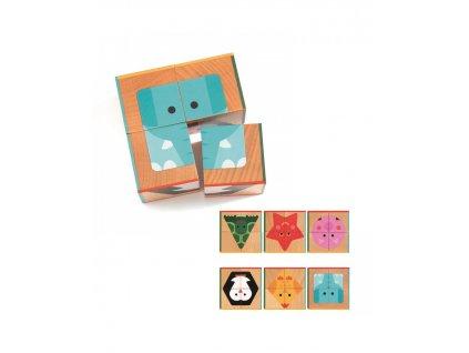 DJECO Dřevěné kostky se geometrickými tvary zvířátek