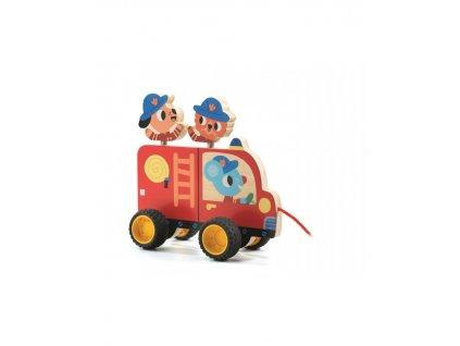 DJECO Malované tahací hasičské auto