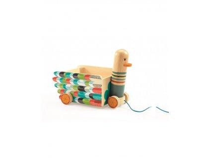 DJECO Malovaný tahací vozík kachnička