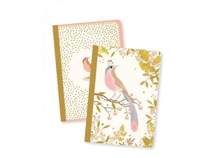 DJECO Sada dvou designových sešitů barevný ptáček
