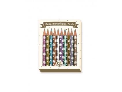 10 mini metalických pastelek