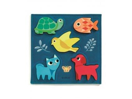 DJECO Dřevěné puzzle zvířátka v modrém