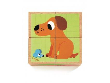 DJECO Dřevěné kostky - Zvířecí kamarádi