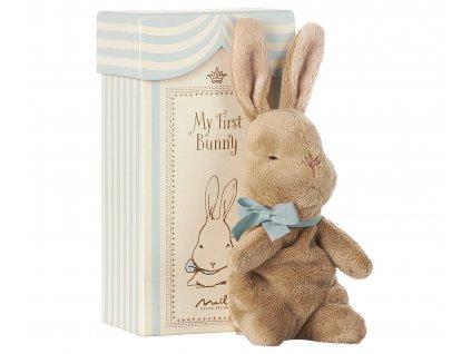 Maileg První králíček v krabičce - modrý
