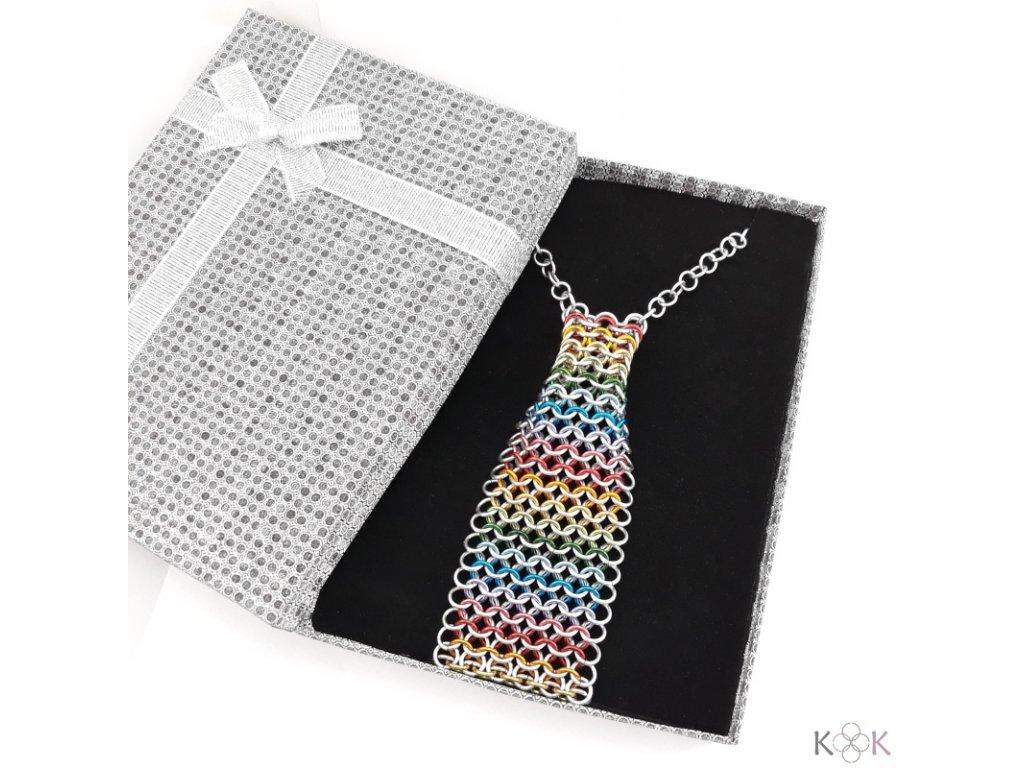Kroužková kravata duhová