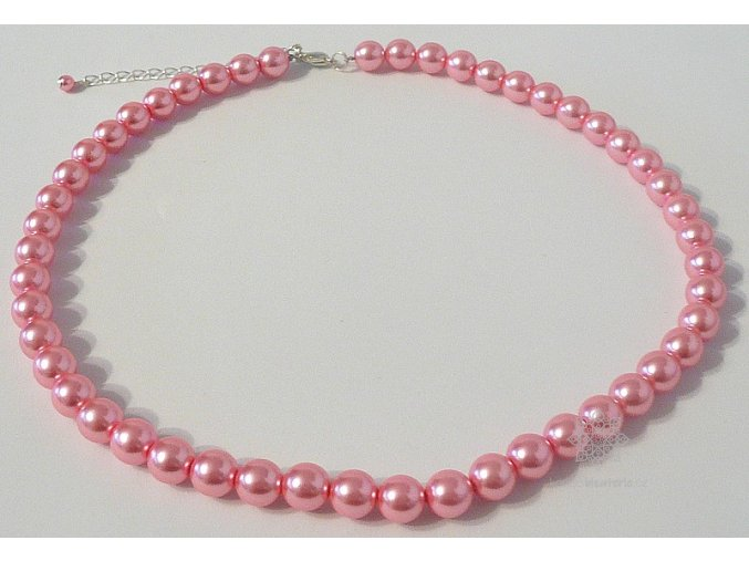 Perly skleněné růžové