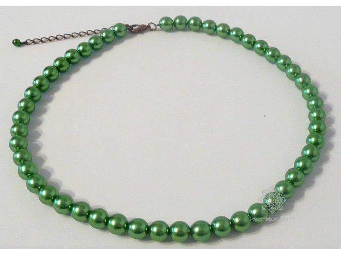 Perly skleněné zelené