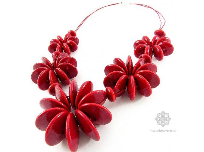 Dřevěné korále Květy velké