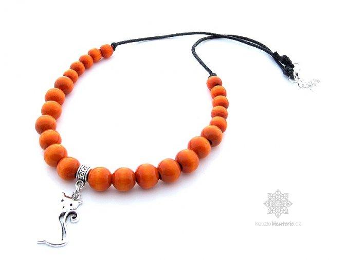 Dřevěné korále oranžové