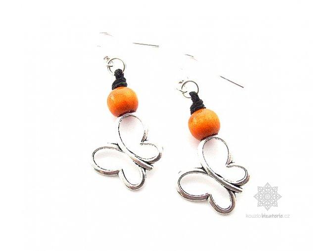 Dřevěné náušnice oranžové