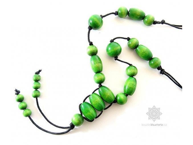 Dřevěné korále zelené