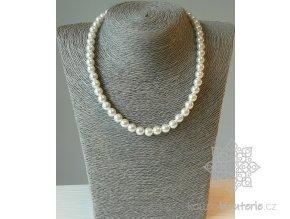 Perly skleněné bílé