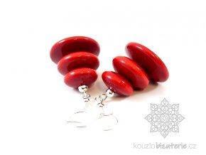 Dřevěné náušnice červené