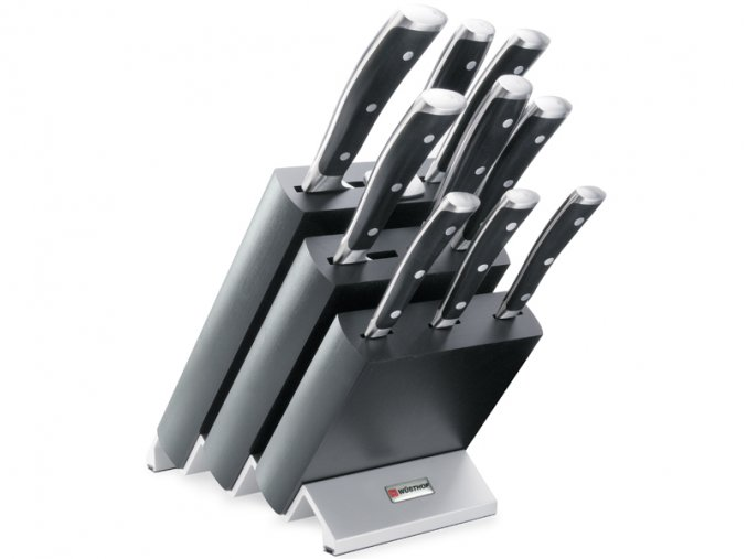 Blok s noži Wüsthof CLASSIC IKON 9 dílů, Černý