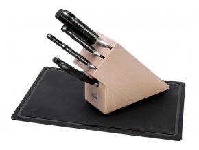 Wüsthof Classic Blok s noži světlý, 6 dílů + krájecí podložka
