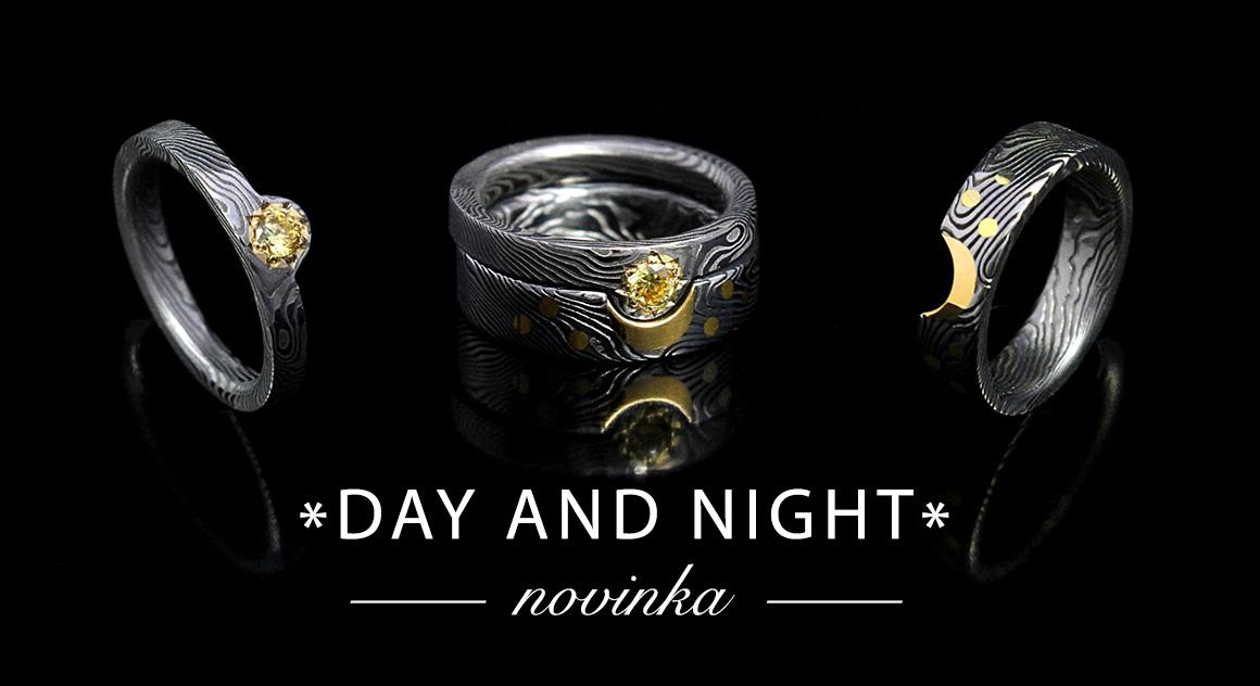 damasteel snubní záskńubní prsten se sluncem a měsícem