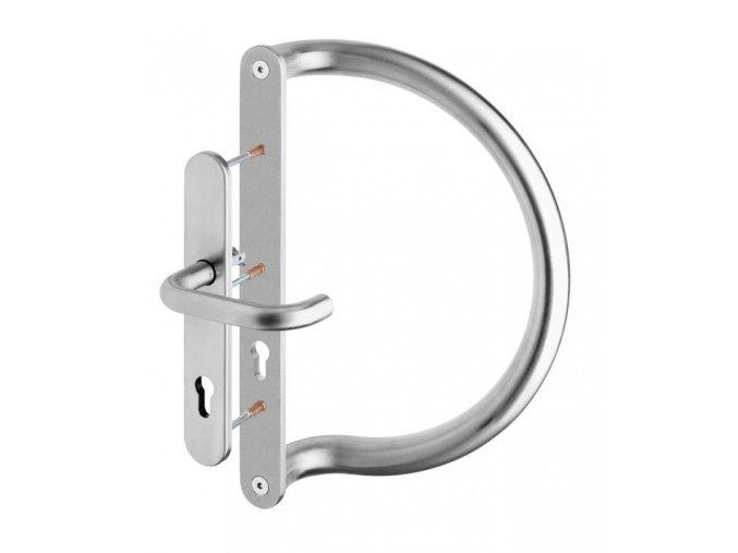 ROSTEX dveřní madlo D se štítem a klikou jednostranné
