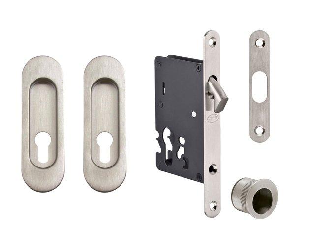JNF Set pro posuvné dveře PZ/D oválný (nerez)