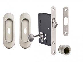 JNF Set pro posuvné dveře BB/S oválný (nerez)