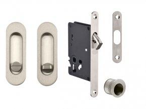 JNF Set pro posuvné dveře WC oválný (nerez)