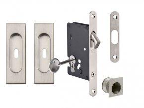 JNF Set pro posuvné dveře BB/S hranatý (nerez)