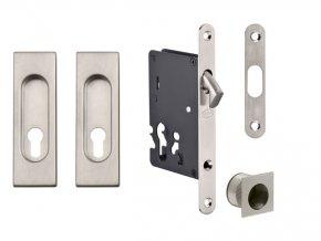 JNF Set pro posuvné dveře PZ/D hranatý (nerez)