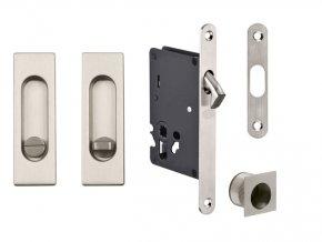 JNF Set pro posuvné dveře WC hranatý (nerez)