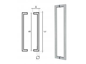 Eurolaton madlo na dveře - NEREZ - 82301250 - rozteč 1250 mm - TOP AKCE !!!
