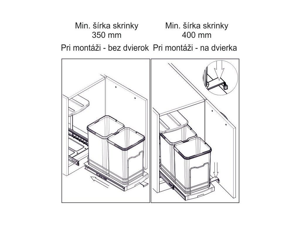 Kôš na odpadky Starax 12+12L