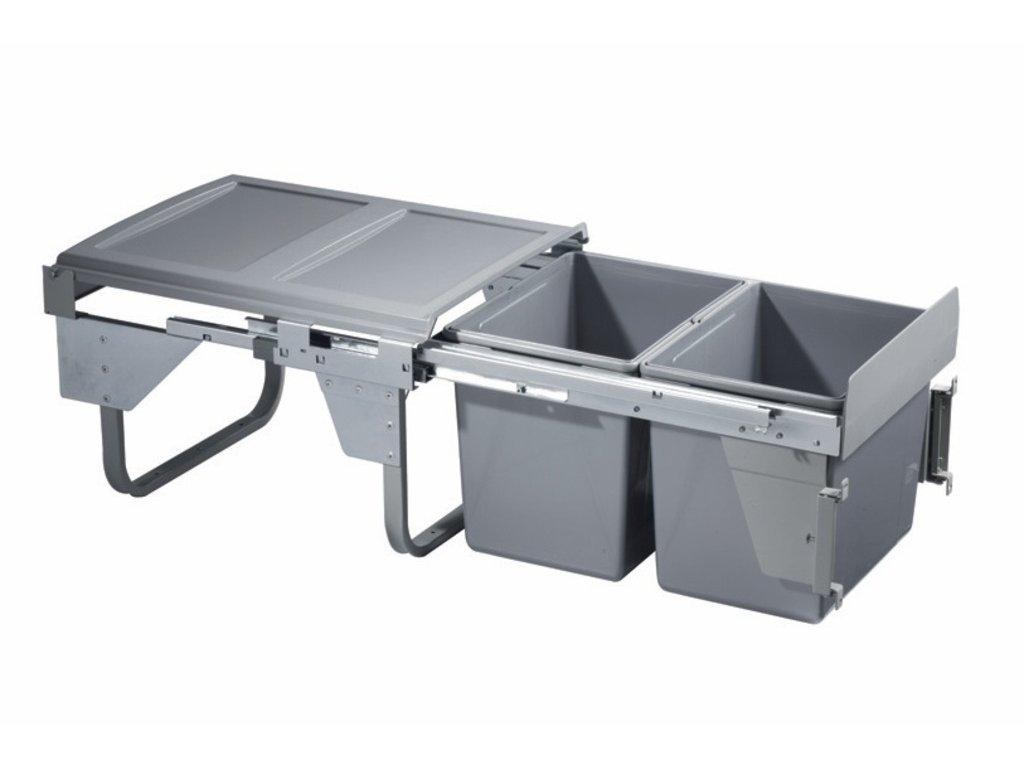 Výsuvný odpadkový 2-kôš Komfort 2x15 l, K45-šedý plast