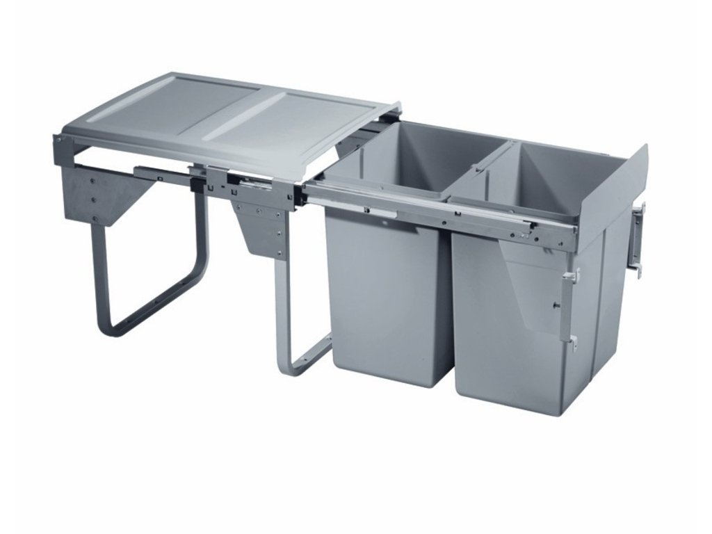 Výsuvný odpadkový 2-kôš Komfort 2x20 l, K45-šedý plast