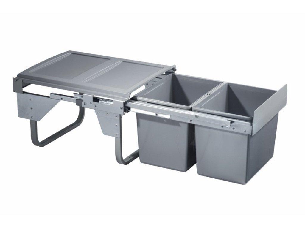 3174 vysuvny odpadkovy 2 kos komfort 2x15 l k45 sedy plast