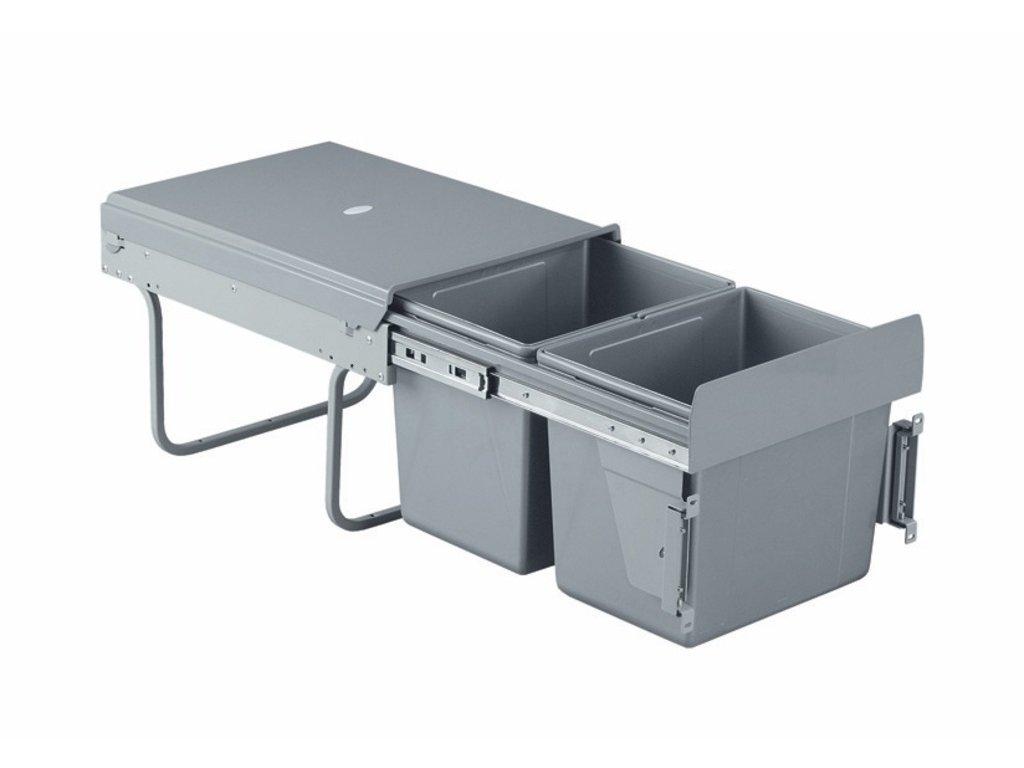 Výsuvný odpadkový 2-kôš 2x15 l, K40-šedý plast