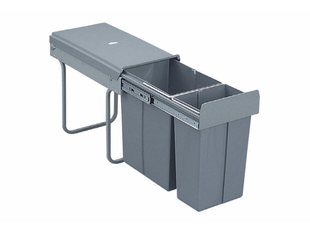 3198 vysuvny odpadkovy 2 kos 1x20 l 1x10 l k30 sedy plast