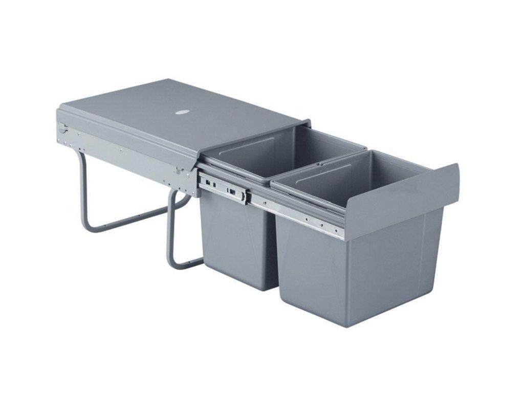 Výsuvný odpadkový 2-kôš, 2x15 l, K40-šedý plast