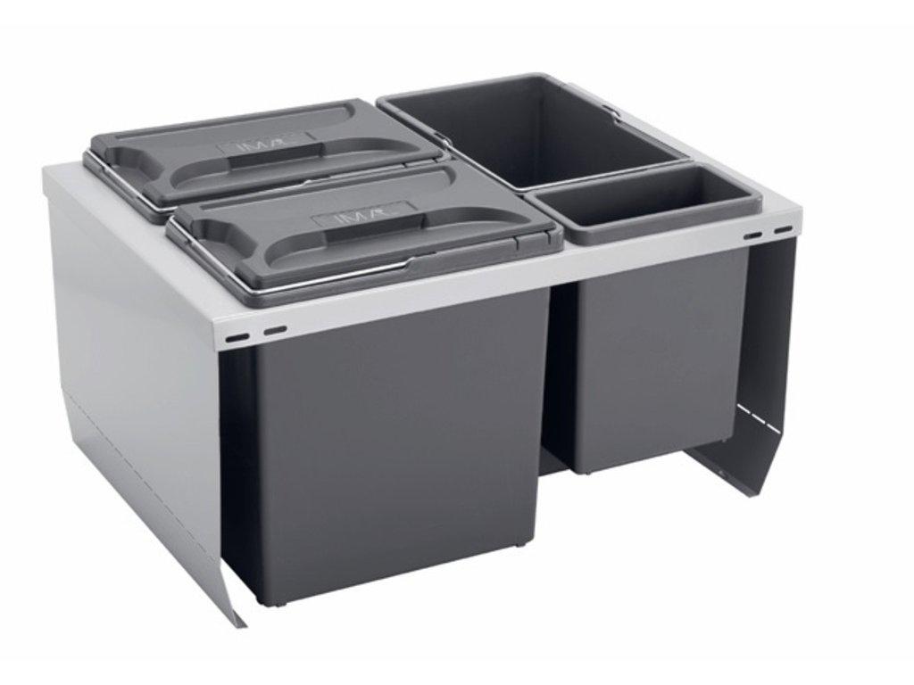 Odpadkový kôš CUBE 600, 3x12 l + 1x3,3 l, K60 - šedý plast