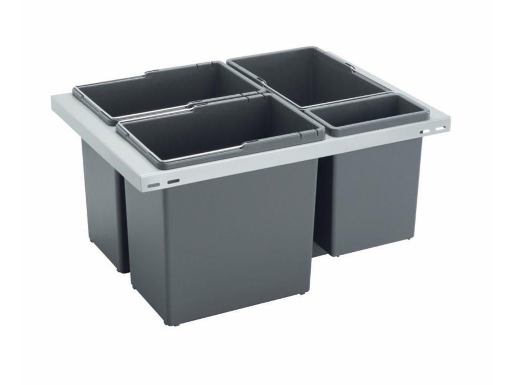 Odpadkový kôš CUBE Basic 600, 3x12 l + 1x3,3 l, K60 - šedý plast