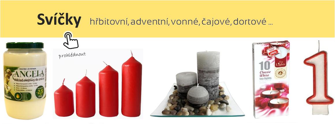 Svíčky hřbitovní, adventní, vonné, dortové, čajové