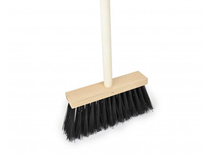 Koště chodníkové 25x6cm černé s násadou 120cm  CZ