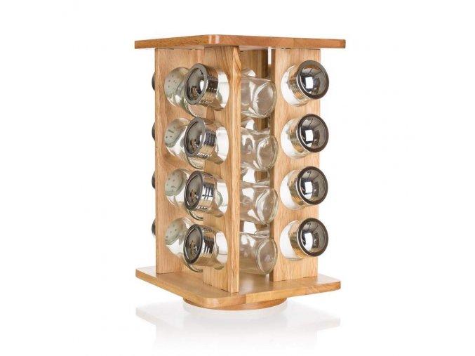 Kořenky sklo/chrom 16ks v dřevěném stoja BANQUET