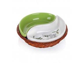 Miska keramika ¤21cm 2d v proutěném košíku OLIVA