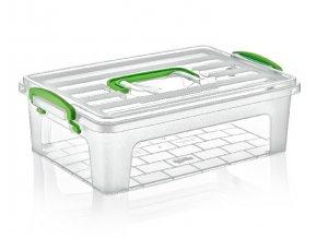 Box úložný CLEAR BOX nízký 30x20x9,5cm 3,75L s madlem, mix barev